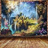 Tapiz psicodélico del castillo de setas fondo de videojuego fiesta, 880 x 60 pulgadas de largo arte de franela grandes tapices de bosque de hadas para dormitorio sala de estar