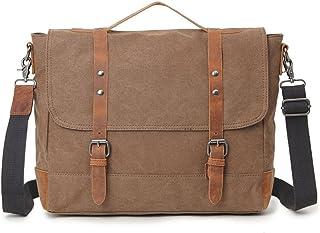 Men's Accessories Office Vintage Style 9.7 Inch Laptop Handbag Casual Business Briefcase Shoulder Messenger Satchel Bag,Khaki,Green/Blue/Gray Outdoor Recreation (Color : Khaki)