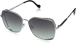 Jessica Simpson Women's J5698 Slvox Non-polarized Iridium Round Sunglasses, Silver Black, 60 mm