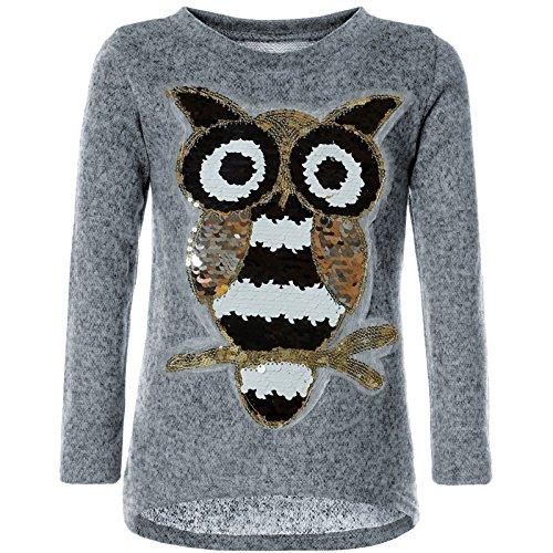 BEZLIT Mädchen Pullover Pulli Wende-Pailletten Sweatshirt Vogel Motiv 21601 Grau Größe 116