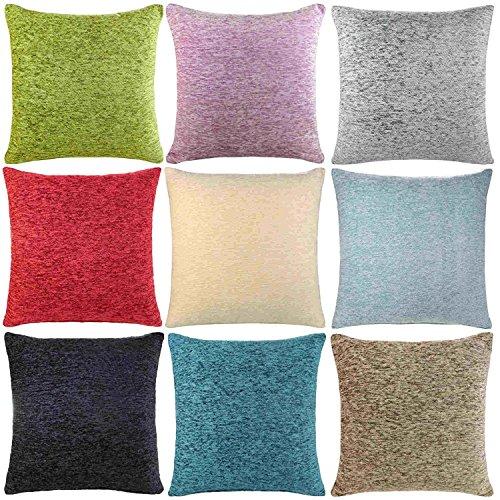 Ideal Textiles, Luxury Cushion Covers, Plain Chenille Cushion Cover, 18' x 18', 45cm x 45cm (Heather)