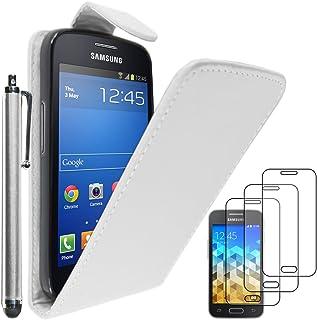 ebestStar - Funda Compatible con Samsung Galaxy Trend 2 Lite SM-G318H, Galaxy V Plus Carcasa Abatible PU Cuero, Ultra Slim Case Cover + Lápiz +3 Peliculas, Blanco [Aparato: 121.4x62.9x10.7mm, 4.0'']