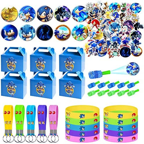 Sonic the Hedgehog Party Supplies for Kids 100 Pcs Party Favors Gift Box Bracelet Key Chain product image
