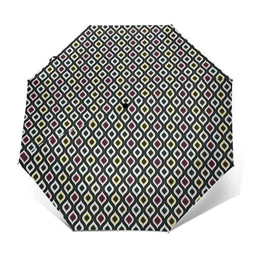 Paraguas Plegable Automático Impermeable como una Hoja elíptica, Paraguas De Viaje Compacto A Prue