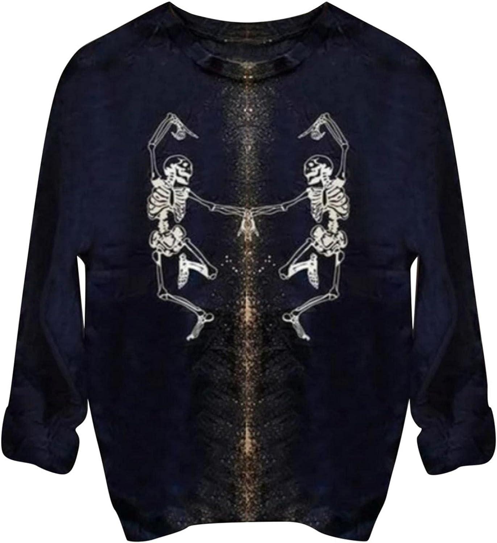 Crewneck Sweatshirts for Women Teen Girls Pullover Vintage Long Sleeve Loose Sweatshirt Skeleton Short Curled Top Shirts