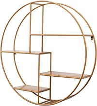 Wall Shelf Float Round Wall-mounted 4-layer Iron Rack Storage Rack, 70cmx16x70cm ZXHDND (Color : Gold)