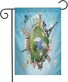 World Garden Flag Small Planet with Historical Famous Landmarks Around The World Vacation Travel Tour Decorative Flags for Garden Yard Lawn W12 x L18 Multicolor
