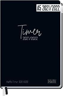 Häfft-Timer 2021/2022 A5 [Just Black] Hardcover Schüler-Kalender, Schüler-Planer,..