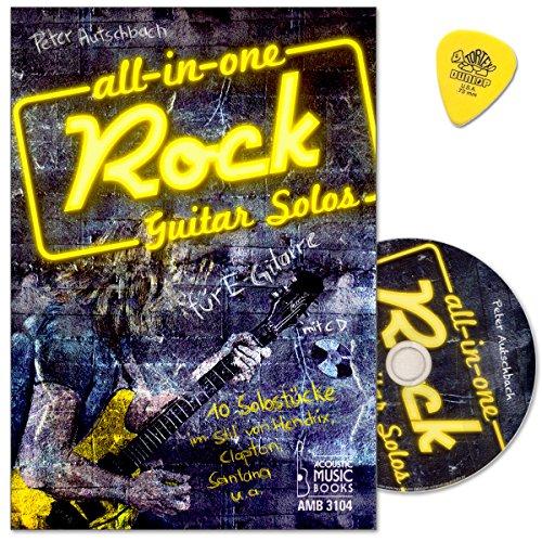 All in One - Rock Guitar Solos für E-Gitarre mit CD, Dunlop Plek - Lehrbuch von Peter Autschbach - 10 Solostücke im Stil von Hendrix, Clapton, Santana