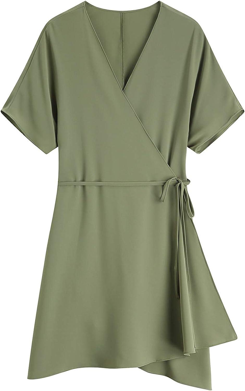 MOCRIS Womens Summer V Neck Split Wrap Elegant Mini Dress with Belt