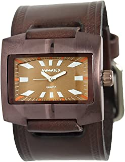 Nemesis Brown Retro Unisex Watch with Wide Brown Embossed Strip Leather Watch Cuff Band, BKIN060B
