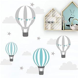 Little Deco Muursticker kinderkamer ballon wolken sterren mint grijs I muurschildering 115 x 58 cm (B x H) I Muurtattoo Ba...