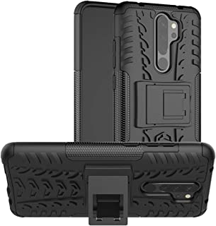 Skinticeª Shockproof Hybrid Kickstand Back Case Cover with Stand PC Plus TPU case for Xiaomi Redmi Note 8 Pro (Black)
