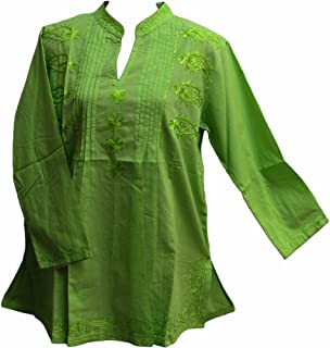 Missy Plus Indian Bohemian Paisley Embroidered Cotton Peasant Tunic Blouse Top (XL, Green)