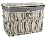 Large Grey Wicker Storage Basket, Storage Chest Trunk Hamper with Cloth Linning, L59 x D38cm x H43CM