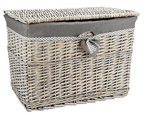 Medium Grey Wicker Storage Basket Trunk Chest Hamper Lidded with Cloth Linning, W51 x D31 x H36cms