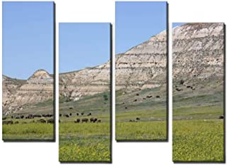 4 Panel Canvas Pictures Bison Herd Home Decor Gifts Canvas Wall Art for your Living Room
