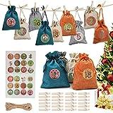 Calendario Adviento,Bolsa de Regalo Navidad, Calendario de Adviento Navidad Set de 24 Bolsas de Yute para Rellenar,Decoración de Bricolaje para Fiestas Navideñaa de Cuenta Atrás
