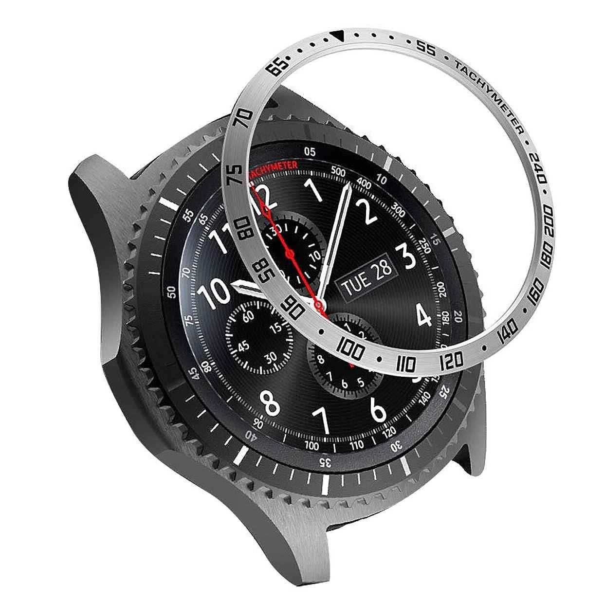 すり四分円救援Movone for Samsung Galaxy Watch 46mm &Galaxy Gear S3 ベゼルリング ベゼルカバー スタイルリング リング飾り アンチリング 傷防止ベゼル ステンレス製 金属感 Galaxy Watch リング Galaxy Watch 46mm/Gear S3用(数字46mm/シルバー)
