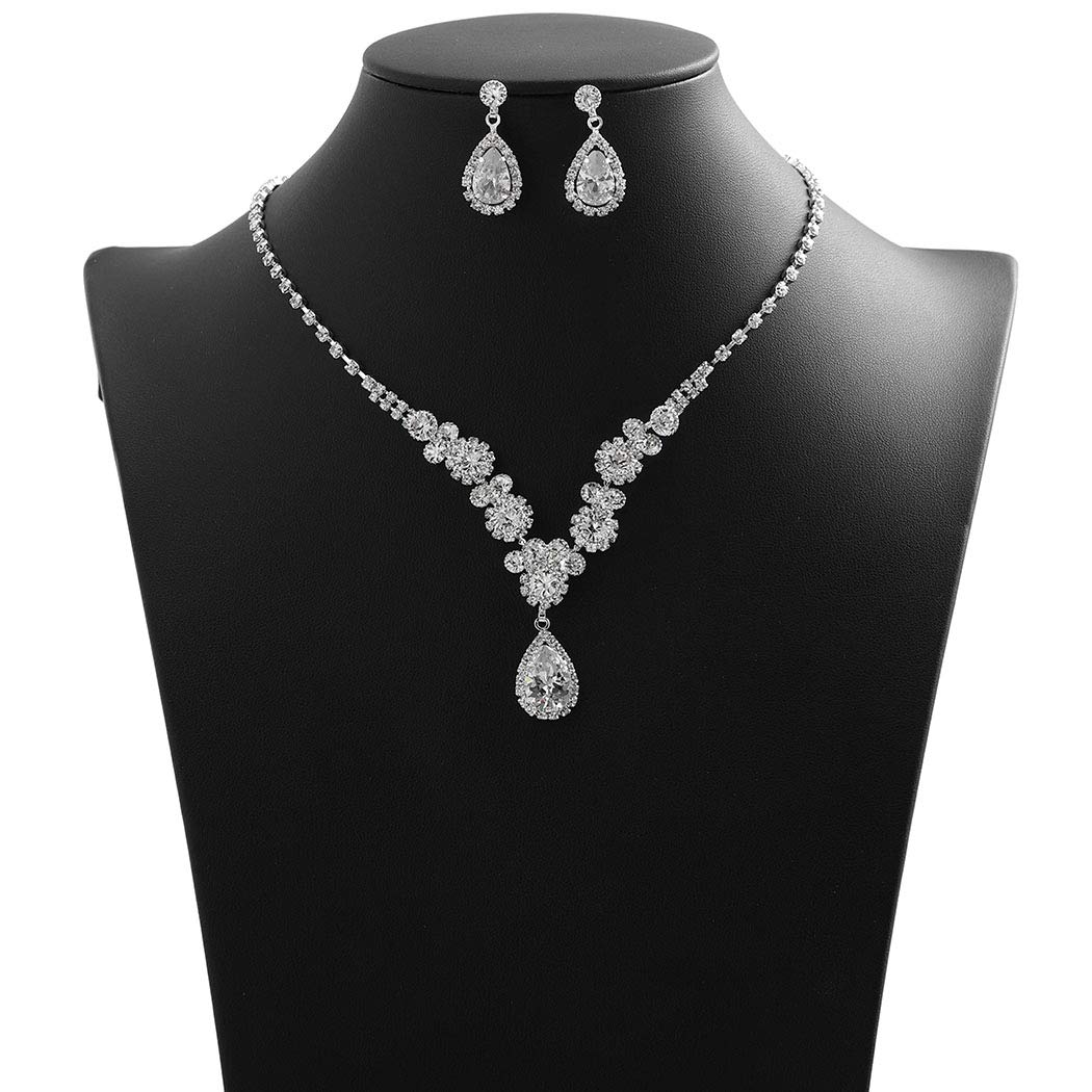 Campsis Wedding Bridal Rhinestone Necklace Sparkling Crystal Floral Statement Necklace and Earring Set Jewelry for Women and Girls