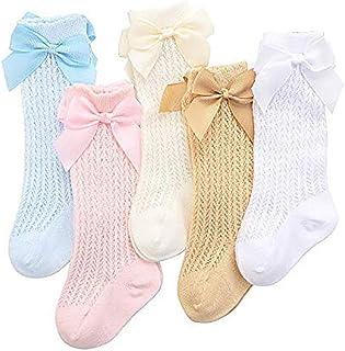 Sanin, 5 pares de calcetines de algodón para niñas y bebés de algodón para niños pequeños hasta la rodilla calcetines españoles con lazo de princesa dulce calcetines de malla de punto para bebés niños