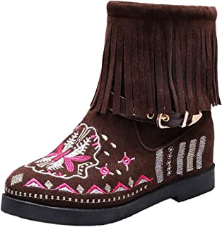 Melady Women Classic Fringe Booties Flat Pull on