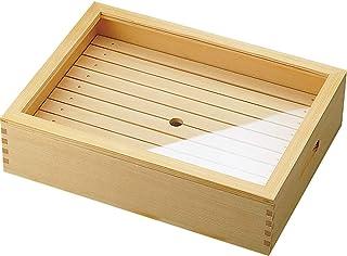 ヤマコー 木製 ネタ箱 目皿・アクリル蓋付 大 白木 39×29×10cm 35585