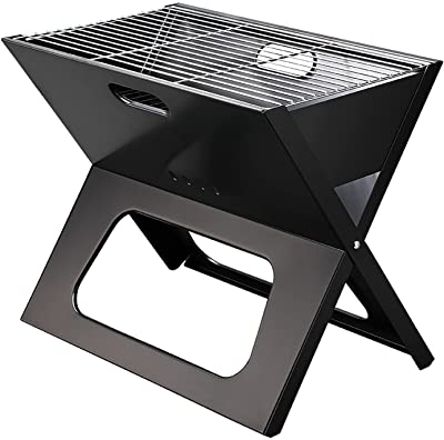 Majitangcun Portable X-Type Grill Charcoal Grill Camping Family Dinner BBQ Stainless Steel Folding Grill Large (19''x12''x16'')