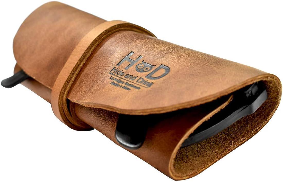 Hide & Drink, Rustic Leather Sunglass Wrap, Slim Travel, Soft Eye Glasses Storage, Handmade Includes 101 Year Warranty :: Single Malt Mahogany