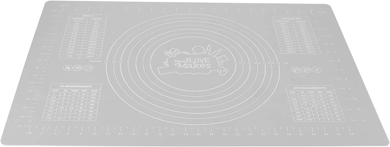 Almohadilla para enrollar pastelería, alfombrilla para hornear de silicona de 60x40 cm con báscula, alfombrilla para enrollar masa para pastelería de cocina, almohadilla resistente al calor(gris)