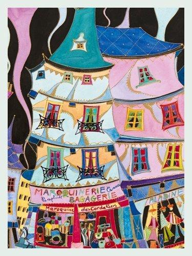 Bild mit Rahmen Martine Wentzeis - La maroquinerie - Digitaldruck - Holz silber, 60 x 79.8cm - Premiumqualität - Stadt, Gebäude, Häuser, Geschäfte, Lederwarengeschäft, Frankreich, fröhlich, .. - MADE IN GERMANY - ART-GALERIE-SHOPde
