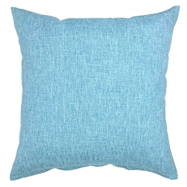 YOUR SMILE Baby Blue Square Cotton Linen Decorative Throw Pillow Case Cushion Cover Pillowcase for Sofa 18 x 18 Inch