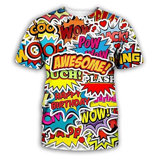 Impresión del Alfabeto Inglés De Dibujos Animados Camiseta De Diseño De Impresión 3D De Verano De Manga Corta Camisetas De Jersey De Moda Unisex,3XL