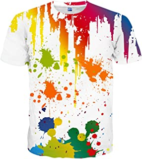 Hgvoetty Unisex 3D Print Shirts Colorful Space Graphic Tees for Men Women Teens