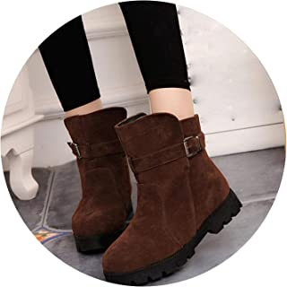 Women Warm Snow Ankle Boots Buckle Match Solid Martin Boots Shoes Girls Winter Boots