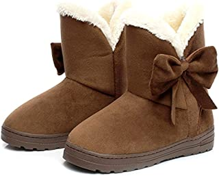 dalina Women's Solid Color Keep Warm Boots Thicken Bottom Plus Velvet Flat Heel Shoe Short Tube Snow Boots