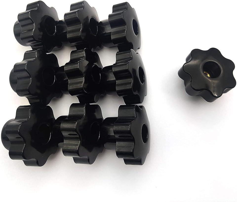 10 Stück Sterngriffmutter M8, Sternschraube, Innengewinde Klemmknopf, Stern Form Kopf Knopf Griff Hand Knopf für Werkzeugmaschine für Werkzeugmaschine - Schwarz