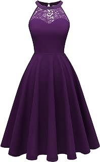 Bbonlinedress Women's Halter Lace Bridesmaid Dress Short Prom Party Cocktail Swing Dress