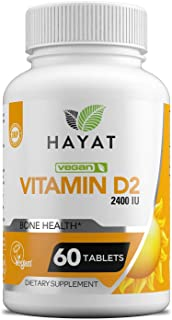 Hayat Vitamins Vegan Natural Vitamin D 2400 IU, D2, Certified Halal, 60 Tablets