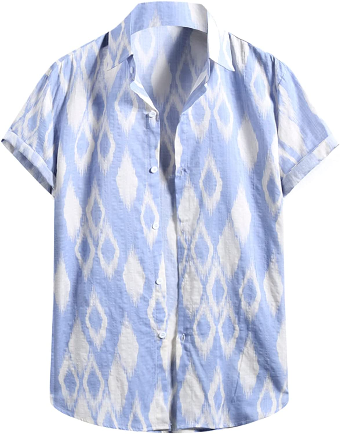 2021 Ranking integrated 1st place Men's Short Sleeve 70% OFF Outlet Shirts Printed Linen Hawaiian Cotton Cas