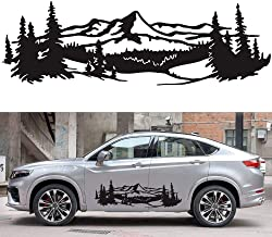 Decdeal 2pcs Vinyl Mountain Decal Waterproof Car Emblem GraphicSkirt Creative Stripe Refitting body pasting Car Body Styli...
