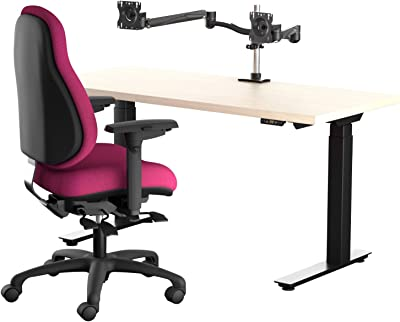 Neutral Posture Chuck Norris Healthy Office Height Adjustable Table, Cranberry