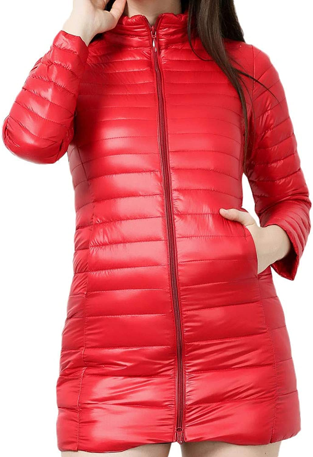 FreshZone Women's Light Weight Packable Down Jacket Coat Stand Collar Long Lined Snowsuits with Storage Bag