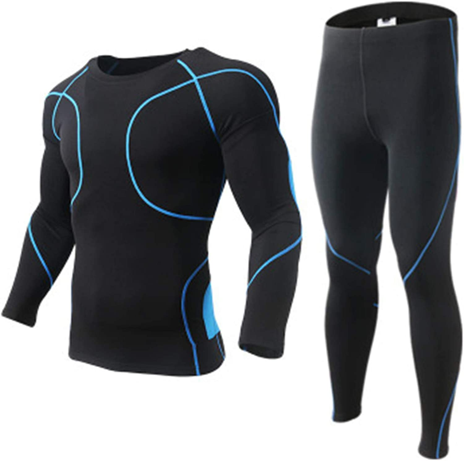 Men Outdoor Sports Thermal Underwear Grid Breathable Long Johns Fleece Gym Suit
