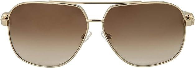 Alexander McQueen AM 0019S 002 Light Gold Aviator Sunglasses Brown Gradient Lens