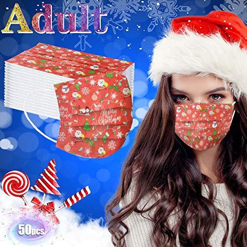 50 Piezas m_ascarillas d_esechables d_ibujos Mujer Adultos protección Industrial de 3 Capas cómodo y Transpirable Impresión navideña