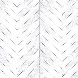 Norwall G68001 Chevron Wood Wallpaper Light Grey, Script White, Dove