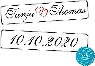 liebesmasche Original KFZ Kennzeichen Hochzeit Autoschilder Hochzeitsschilder Namensschilder mit Datum und Namen 0193 10