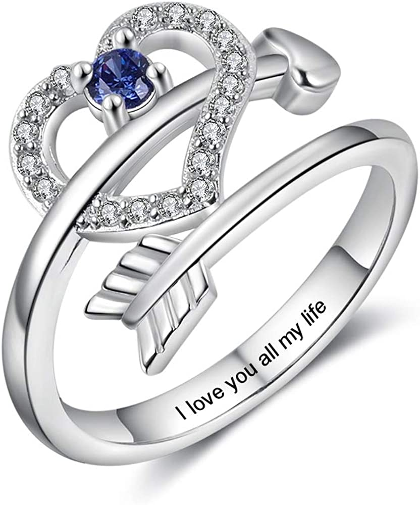 Personalized Name Rings for Women with Simulated Birthstones Free Engraving Engagement Name Rings for Her Custom Promise Rings for Women