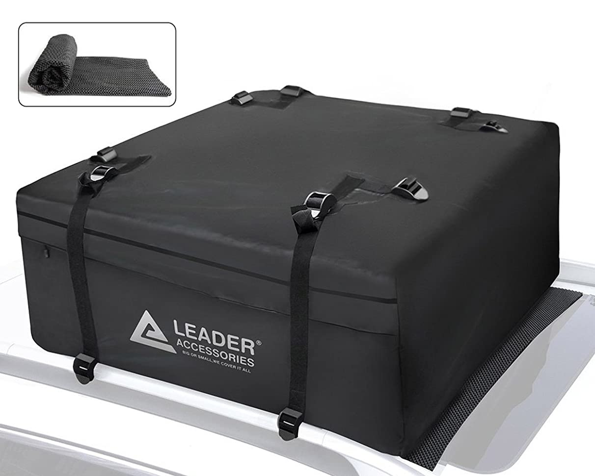 Leader Accessories 15 Cubic Feet Rooftop Cargo Bag Waterproof Cargo Carrier With Racks Heavy Duty Top Storage With Anti-slip Mat